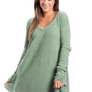 Sea Foam Green V Neck Waffle Knit Sweater